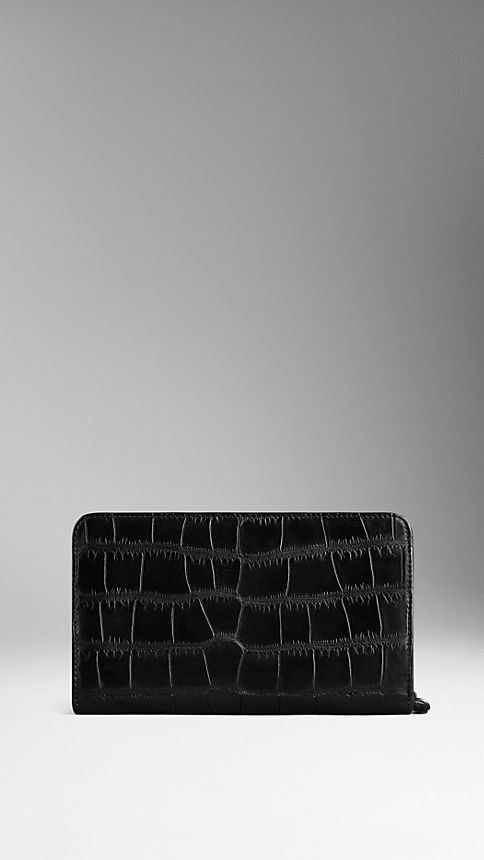 Black Alligator Leather Travel Wallet - Image 2