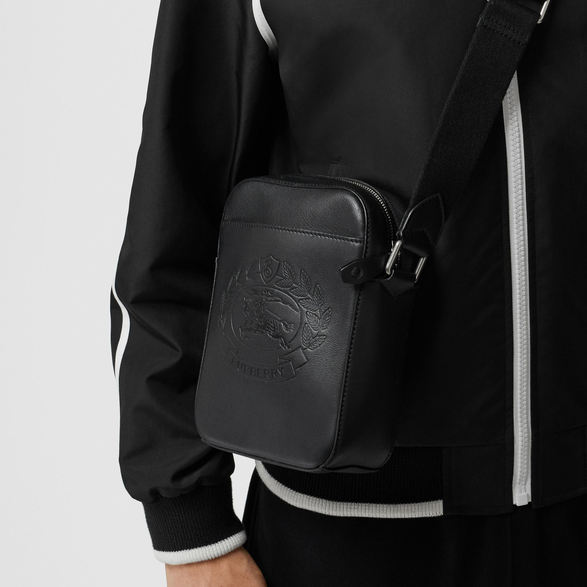 Small Embossed Crest Leather Crossbody Bag in Black - Men | Burberry United States - gallery image 3