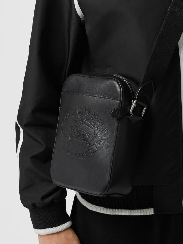 Small Embossed Crest Leather Crossbody Bag in Black - Men | Burberry - cell image 3