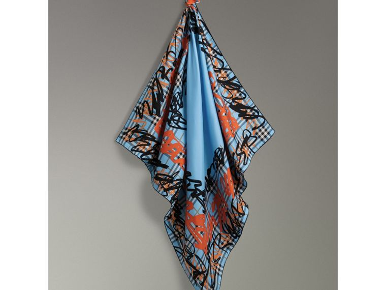 Scribble Check Silk Square Scarf in Light Azure | Burberry - cell image 4