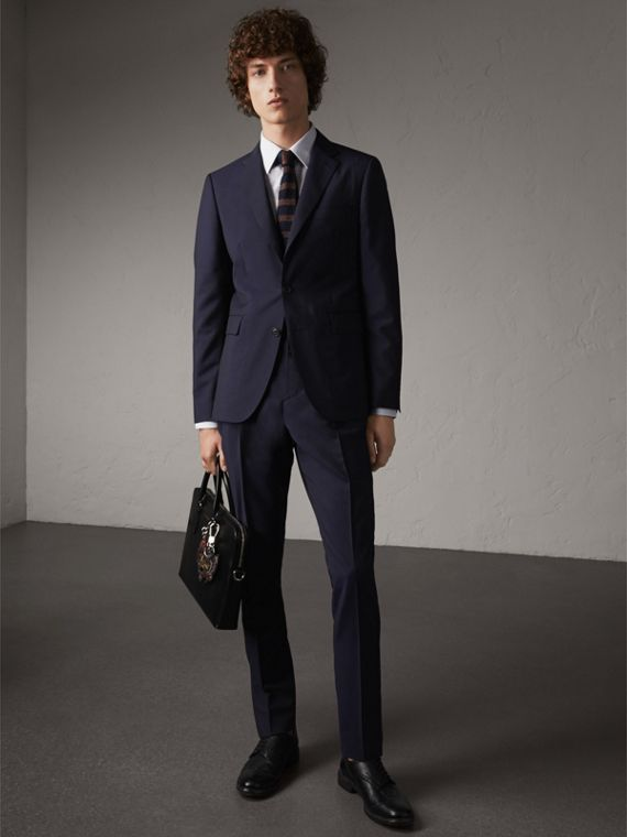 Slim Fit Wool Mohair Suit in Dark Navy