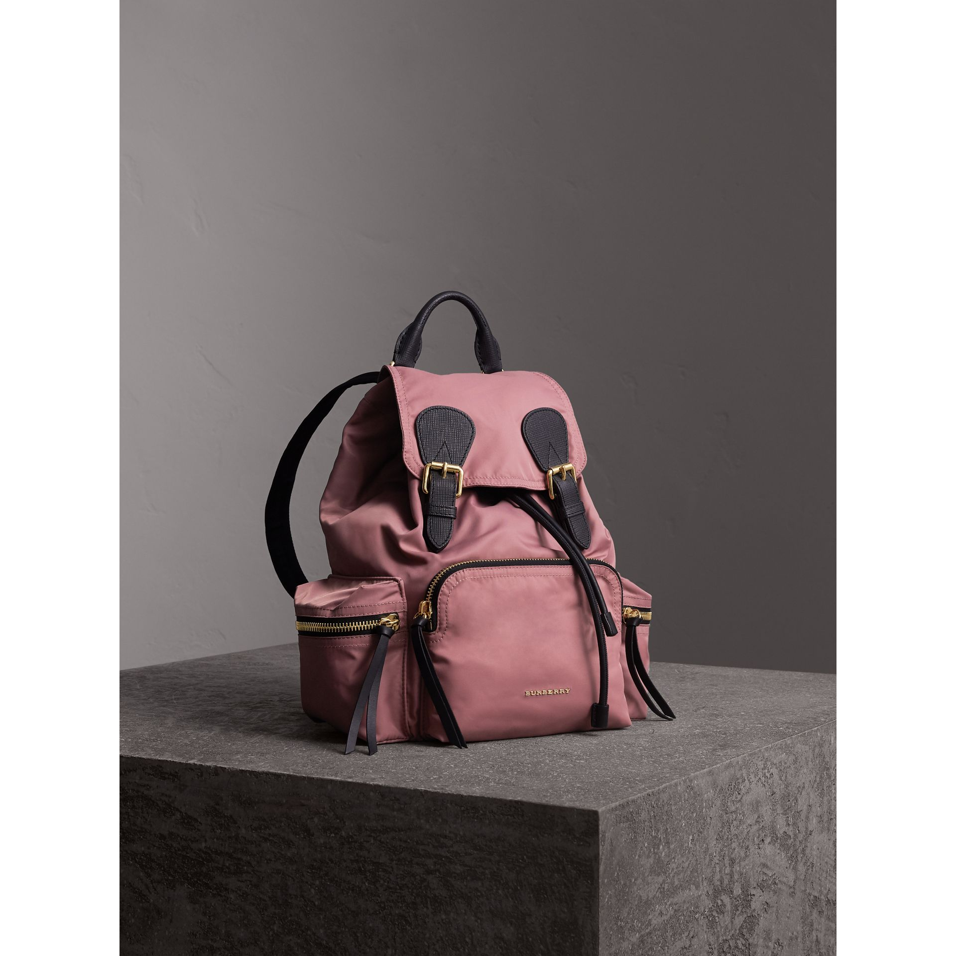 The Medium Rucksack in Technical Nylon and Leather in Mauve Pink - Women | Burberry - gallery image 8