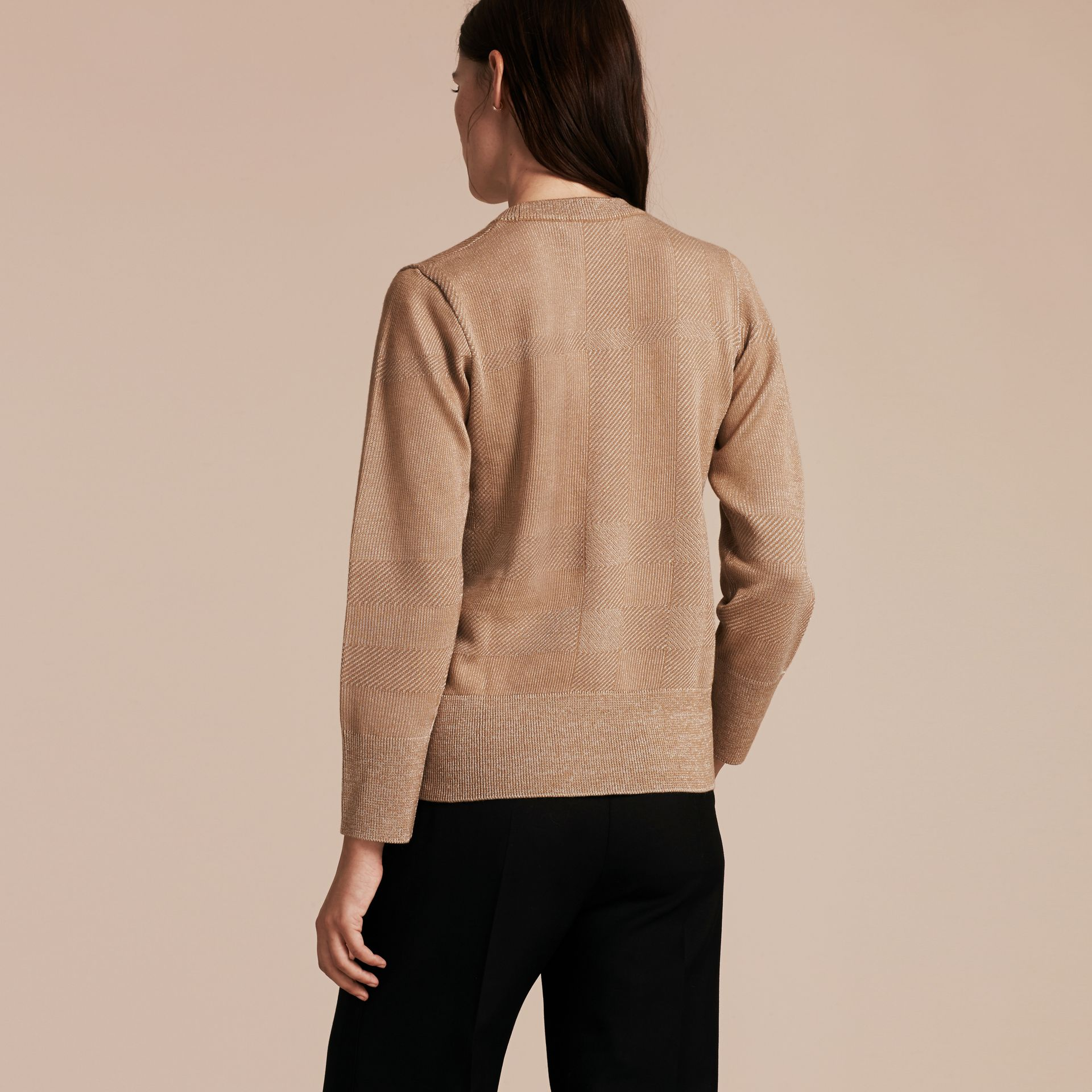 Camel Check Merino Wool and Metallic Sweater - gallery image 3