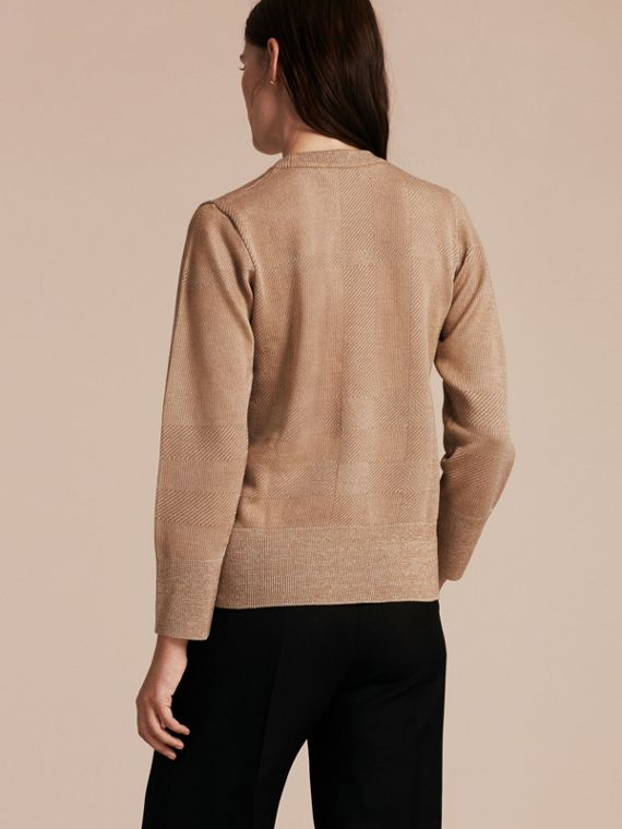 Camel Check Merino Wool and Metallic Sweater - cell image 2