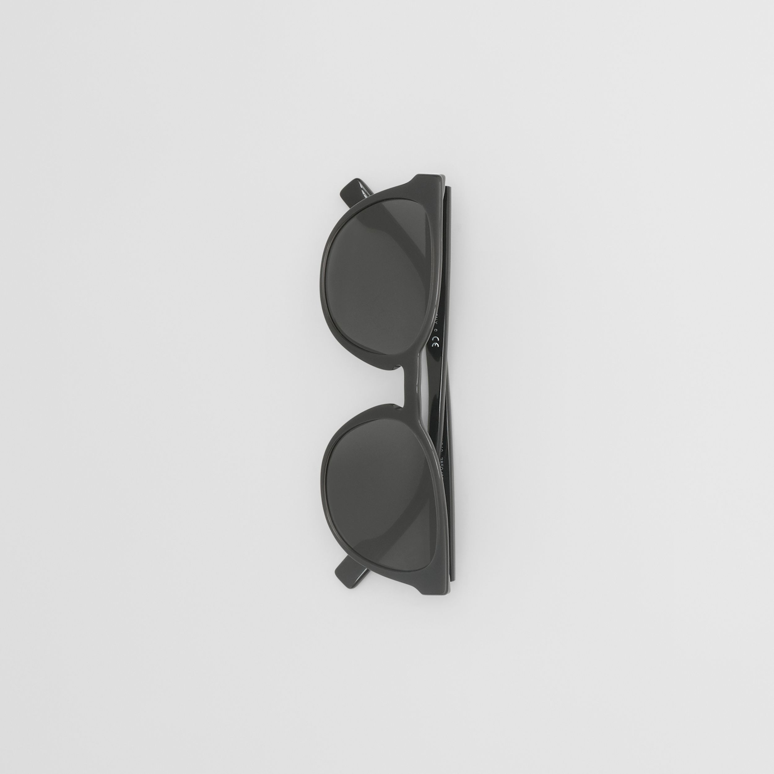 Round Frame Sunglasses in Black - Men | Burberry - 4