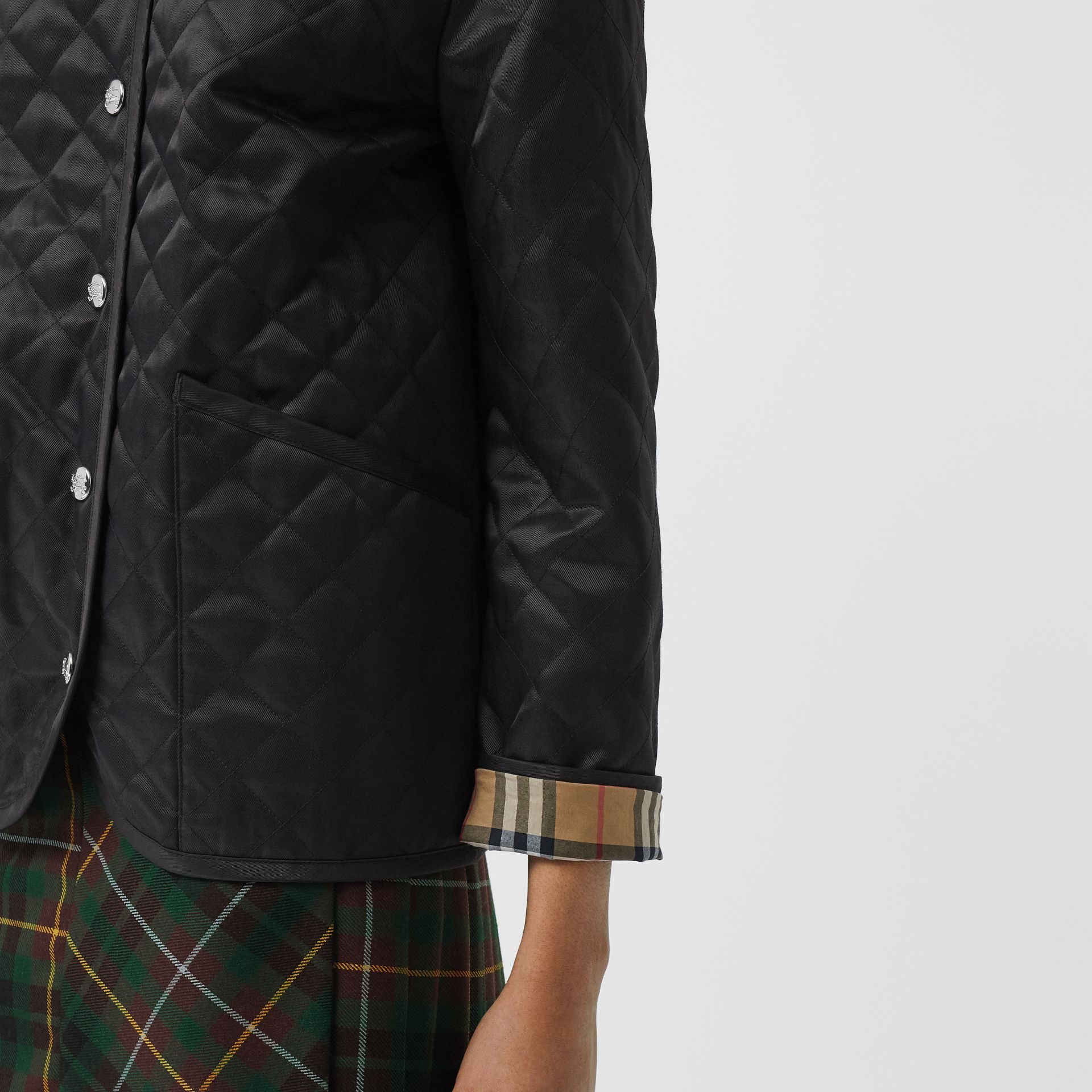 Diamond Quilted Barn Jacket in Black - Women | Burberry - gallery image 5