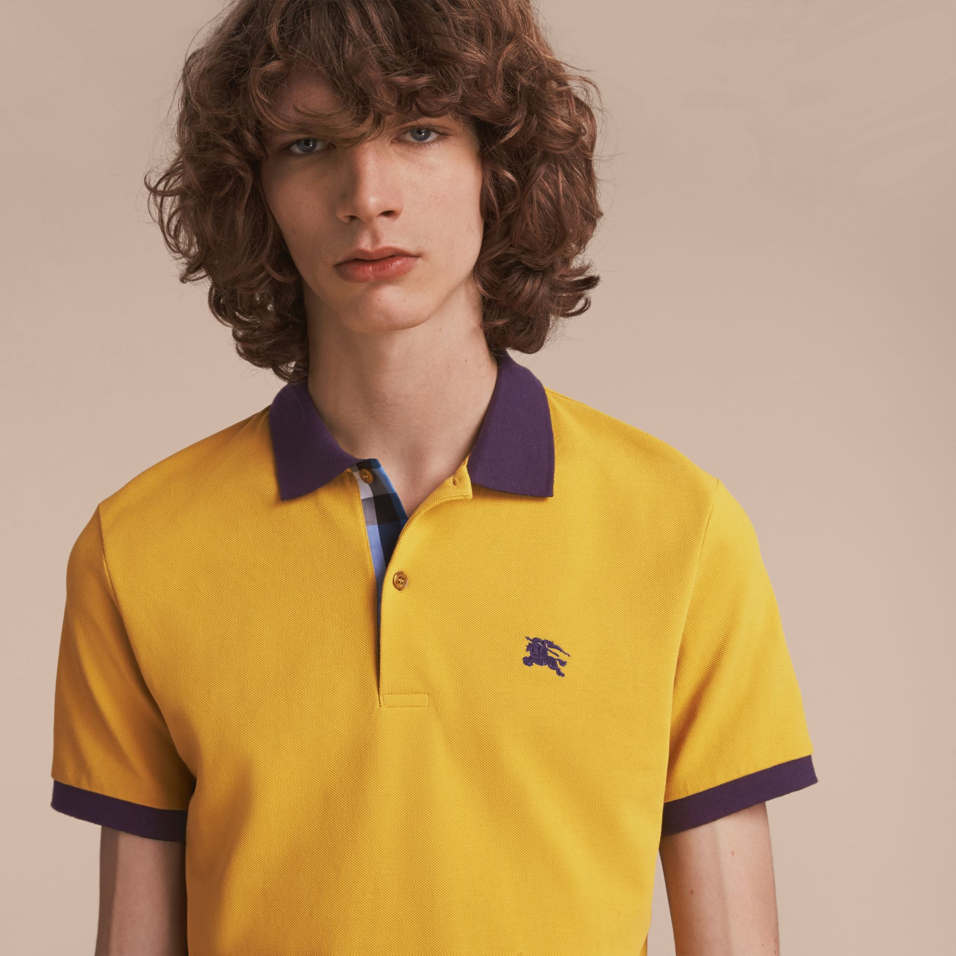 Two-tone Check Placket Cotton Piqué Polo Shirt Gorse Yellow - gallery image 5