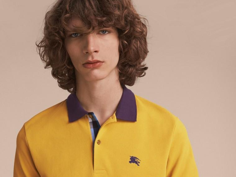Two-tone Check Placket Cotton Piqué Polo Shirt Gorse Yellow - cell image 4