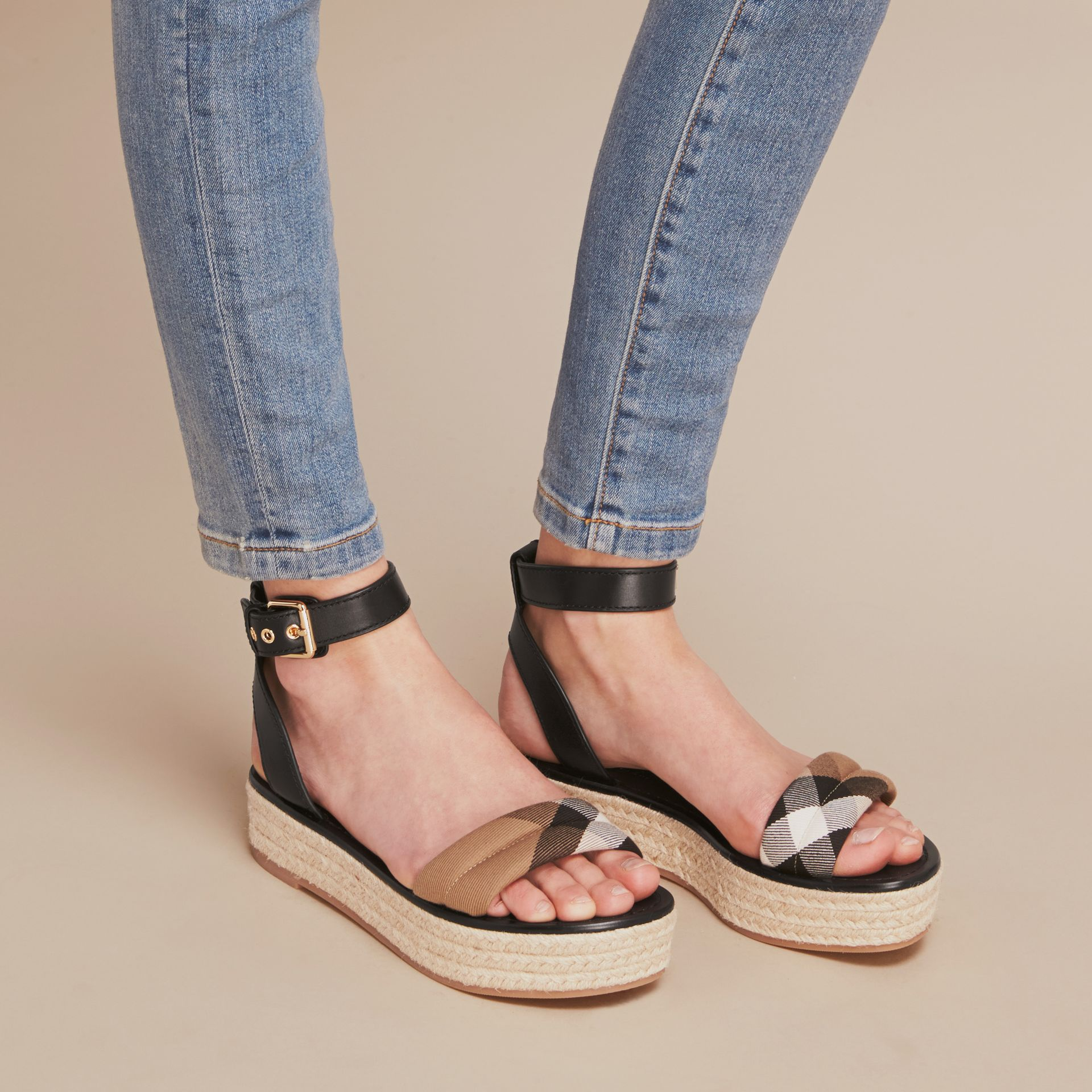 Leather and House Check Espadrille Platform Sandals in Black - gallery image 3