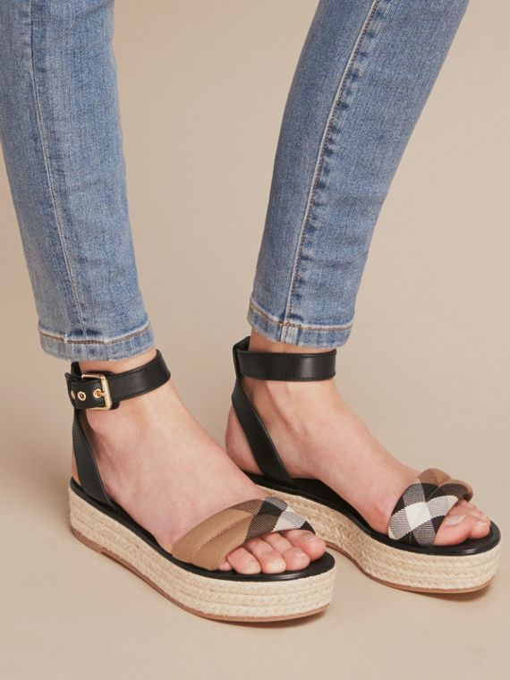 Leather and House Check Espadrille Platform Sandals in Black - cell image 2