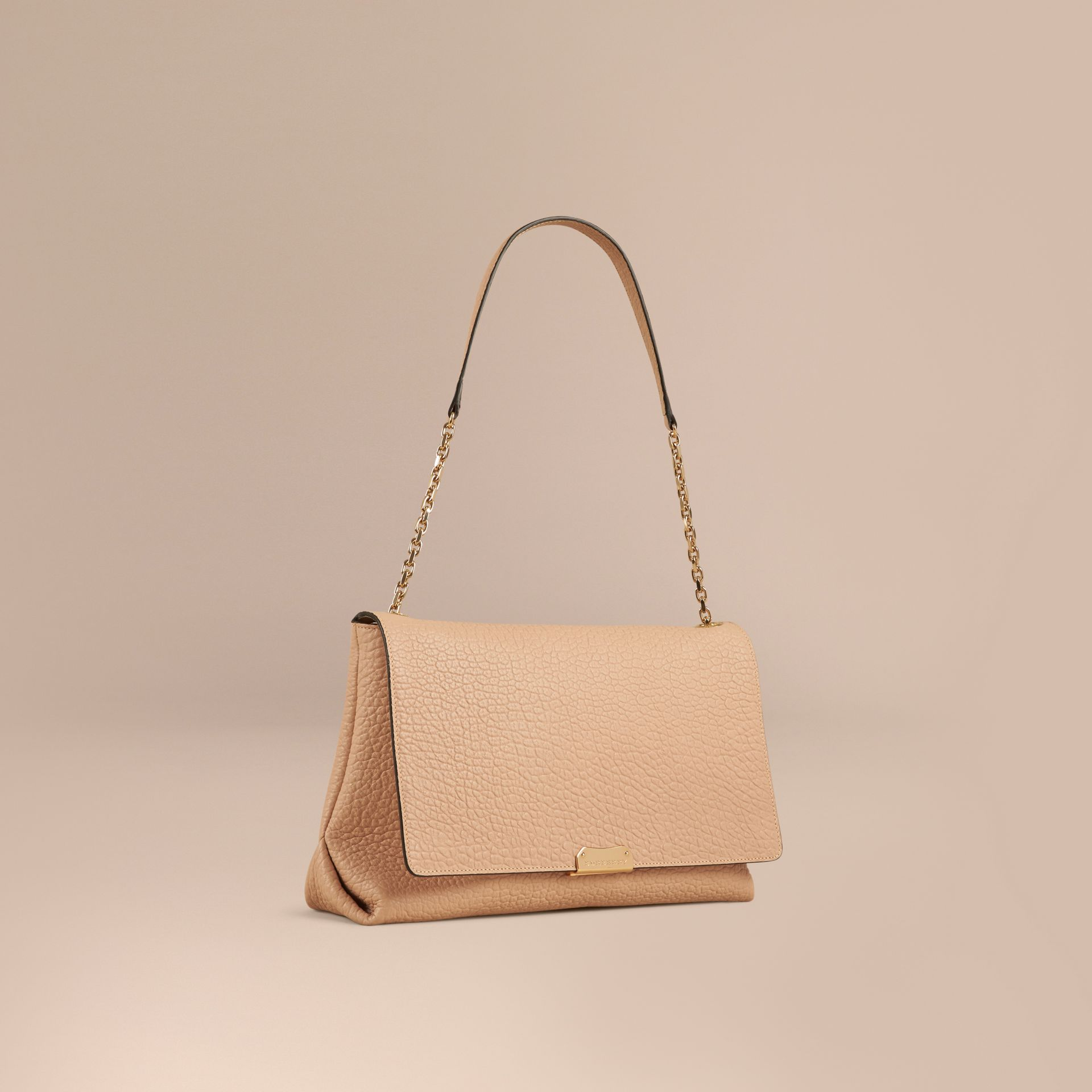 Pale apricot Large Signature Grain Leather Shoulder Bag Pale Apricot - gallery image 1