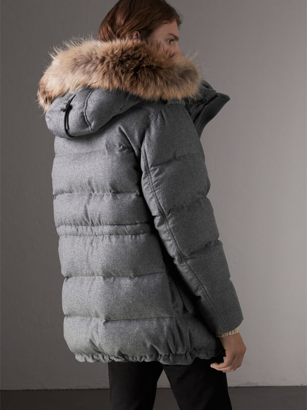 Down-filled Cashmere Hooded Parka in Mid Grey Melange - Men | Burberry - cell image 2