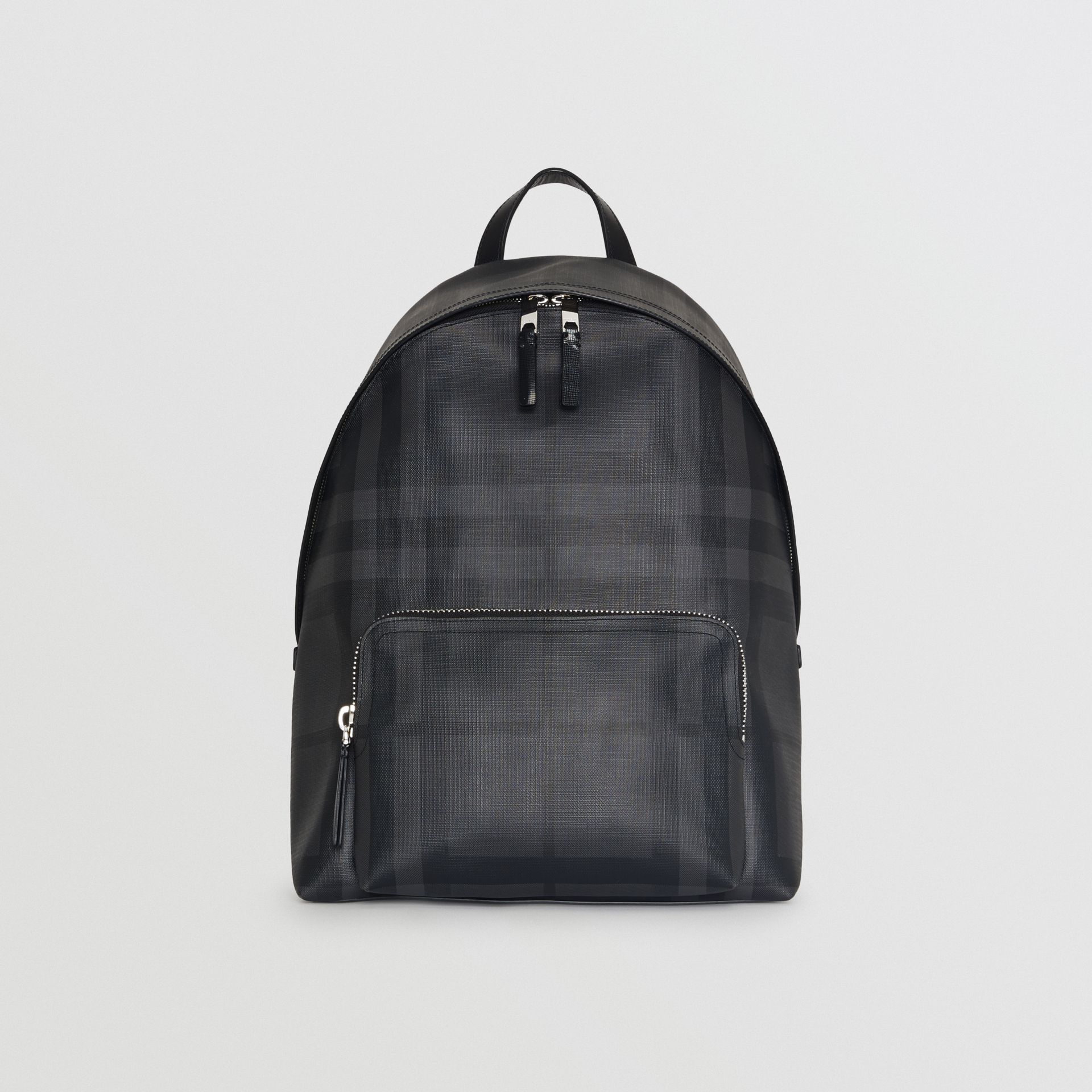 Leather Trim London Check Backpack in Charcoal/black - Men | Burberry Hong Kong - gallery image 2