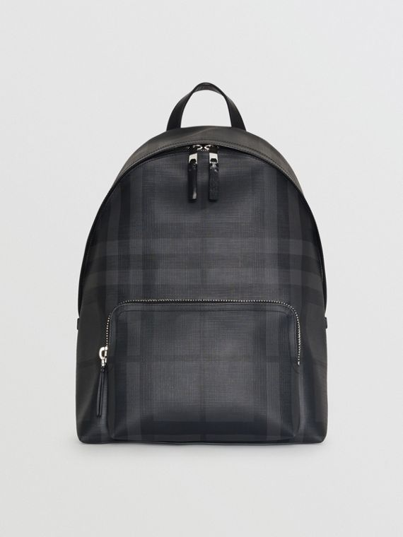 Leather Trim London Check Backpack in Charcoal/black