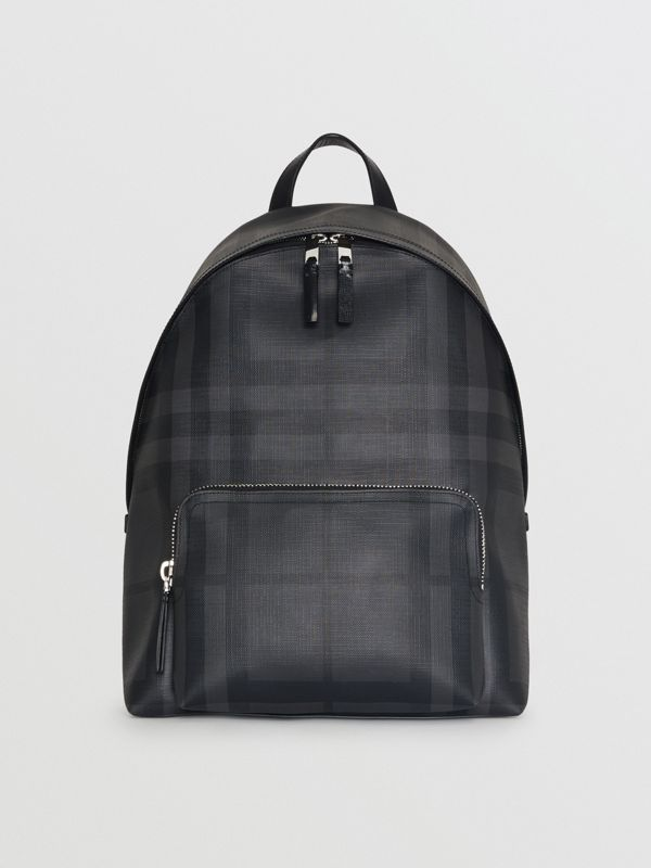 Leather Trim London Check Backpack in Charcoal/black - Men | Burberry Hong Kong - cell image 2