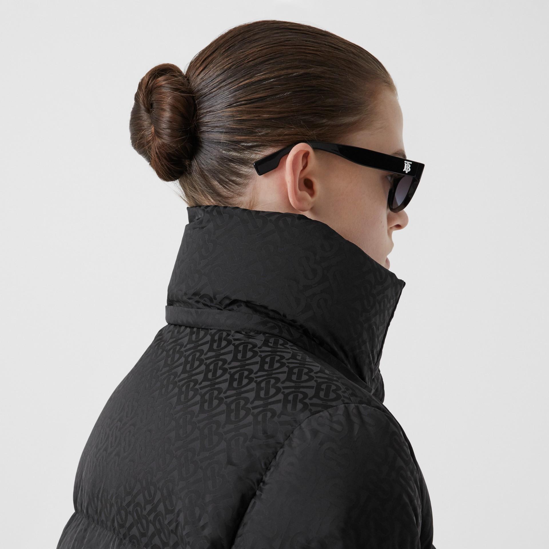 Detachable Hood Monogram ECONYL® Puffer Jacket in Black - Women | Burberry - gallery image 5