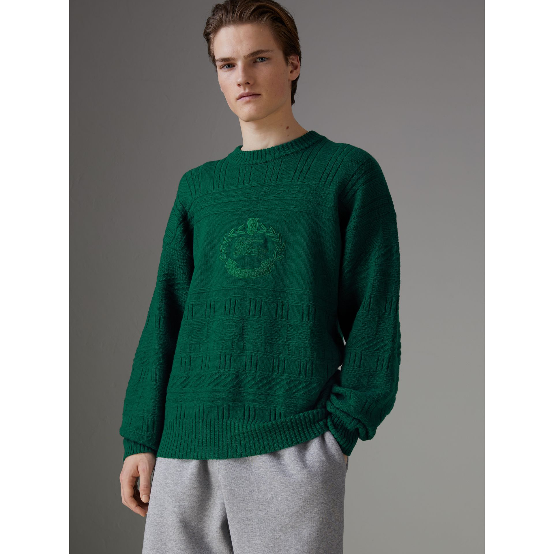 Reissued Wool Sweater in Dark Green - Men | Burberry United Kingdom - gallery image 4