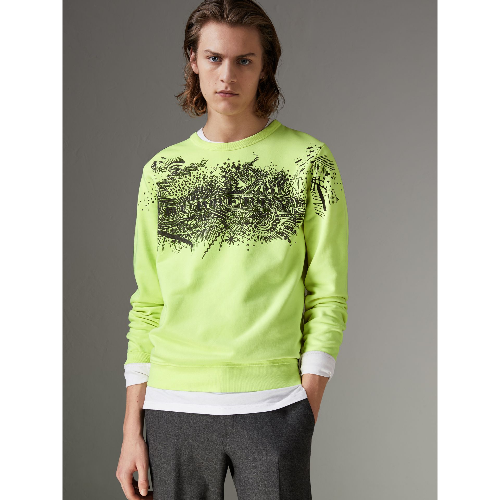 Doodle Print Cotton Sweatshirt in Bright Lemon - Men | Burberry - gallery image 4