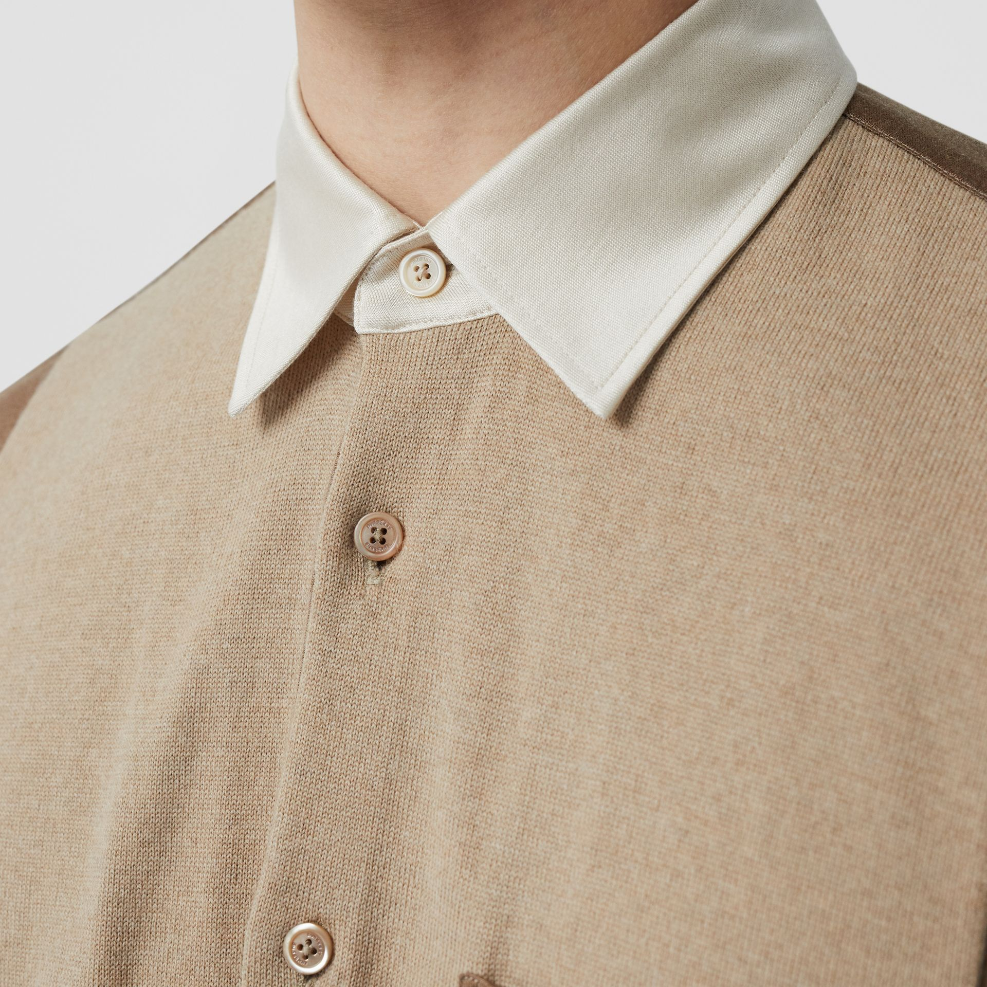 Classic Fit Panelled Silk and Merino Wool Shirt in Warm Camel - Men | Burberry - gallery image 1