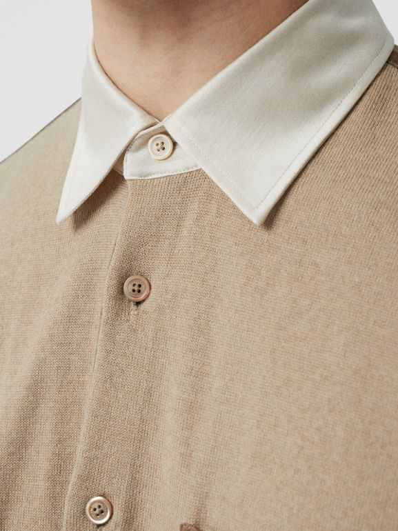 Classic Fit Panelled Silk and Merino Wool Shirt in Warm Camel - Men | Burberry - cell image 1
