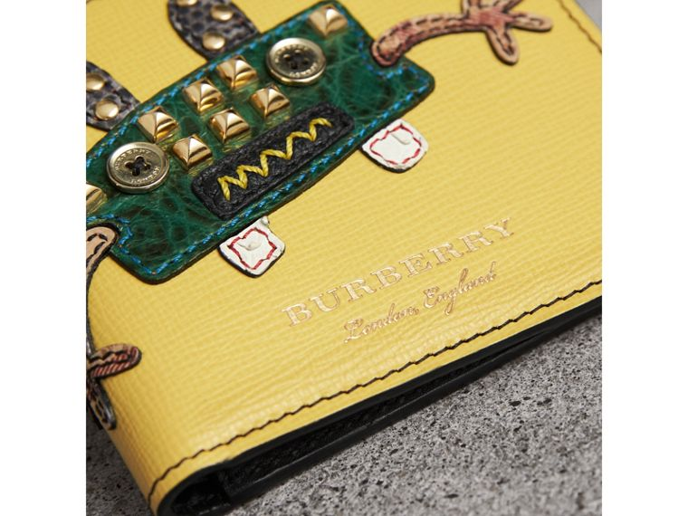 Creature Appliqué Leather International Bifold Wallet in Ochre Yellow - Men | Burberry United Kingdom - cell image 1