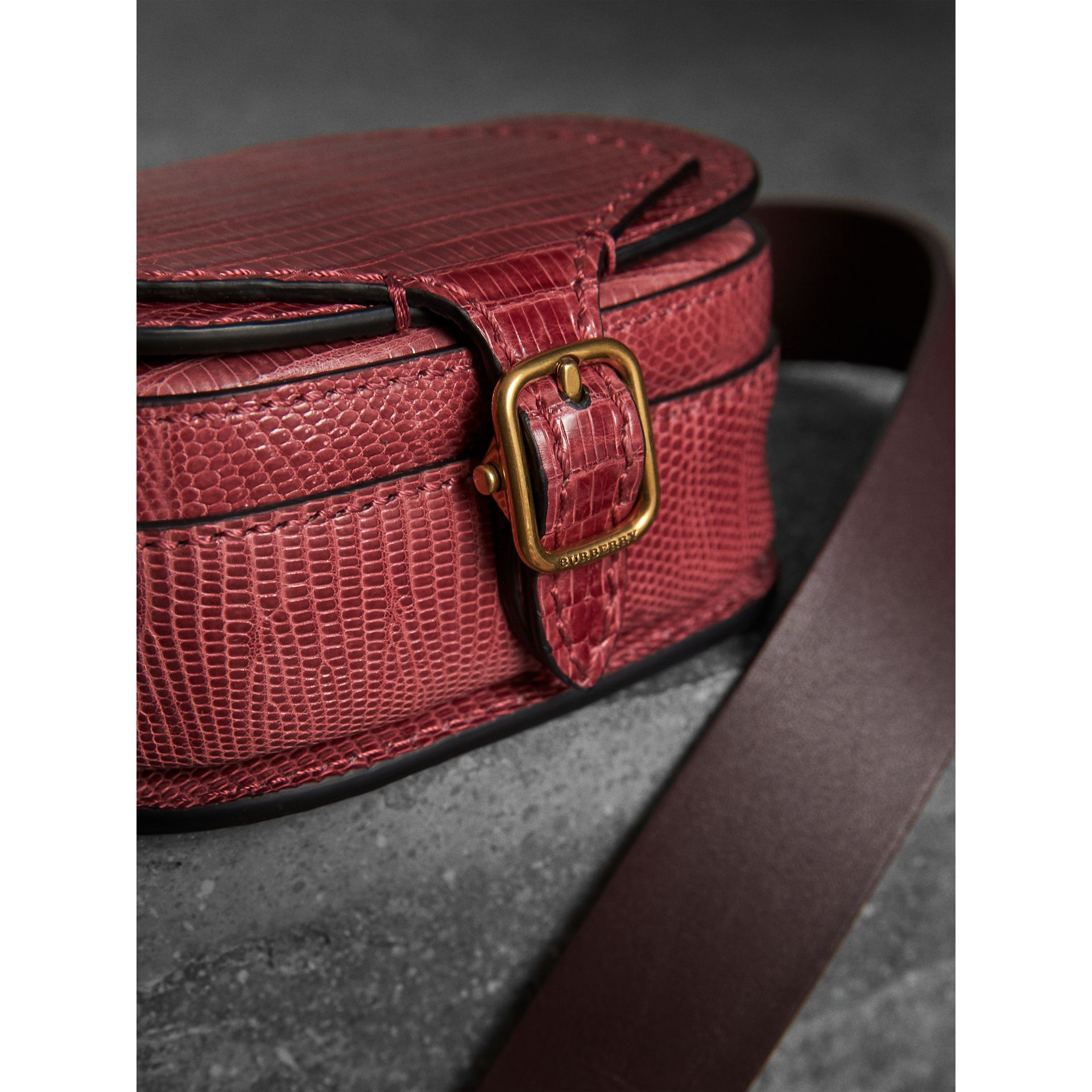 The Pocket Satchel in Lizard in Dark Crimson - Women | Burberry Australia - gallery image 1