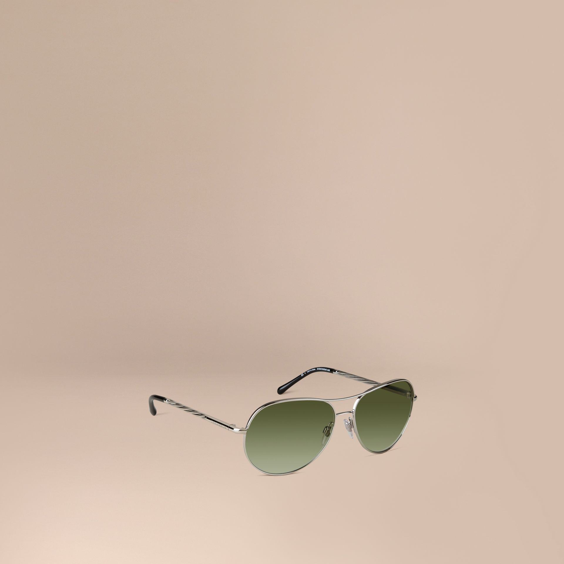 Silver Gabardine Collection Aviator Sunglasses Silver - gallery image 1