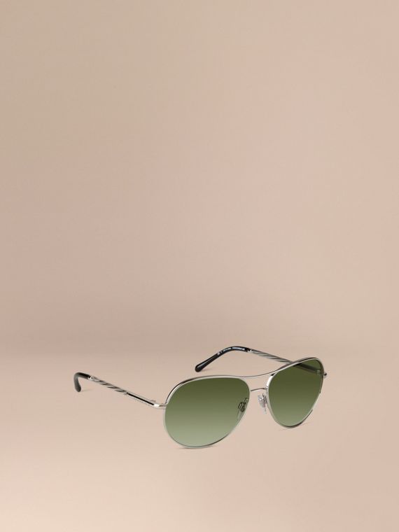 Gabardine Collection Aviator Sunglasses Silver