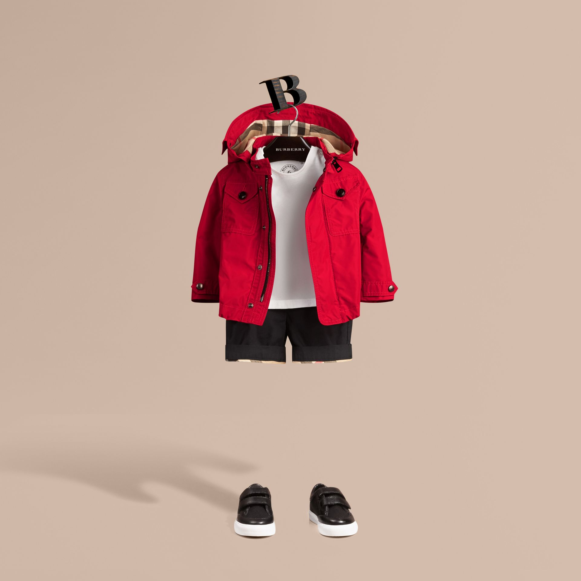 Hooded Technical Jacket Military Red - gallery image 1