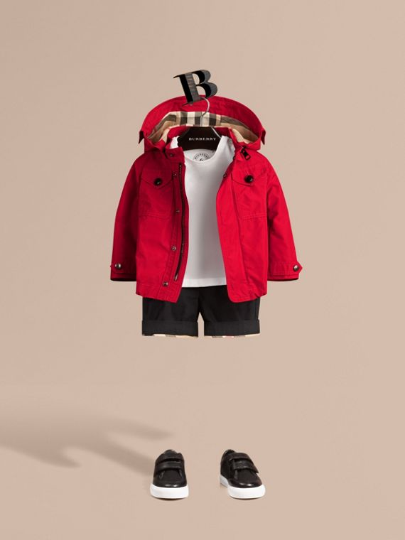 Hooded Field Jacket in Military Red