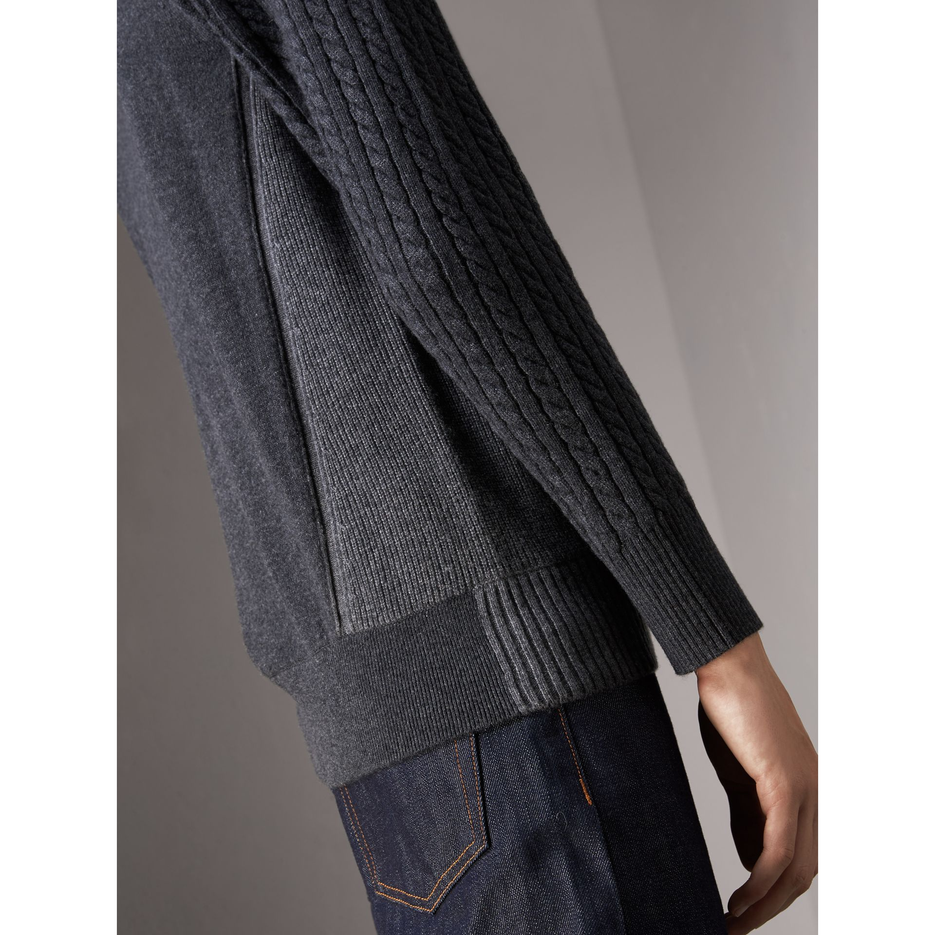 Two-tone Cable Knit Cashmere Sweater in Charcoal - Men | Burberry Canada - gallery image 2