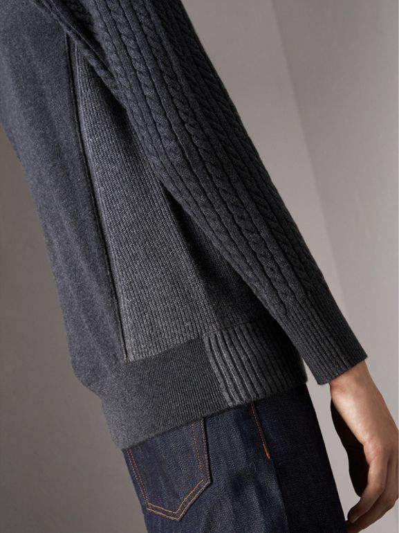 Two-tone Cable Knit Cashmere Sweater in Charcoal - Men | Burberry - cell image 1