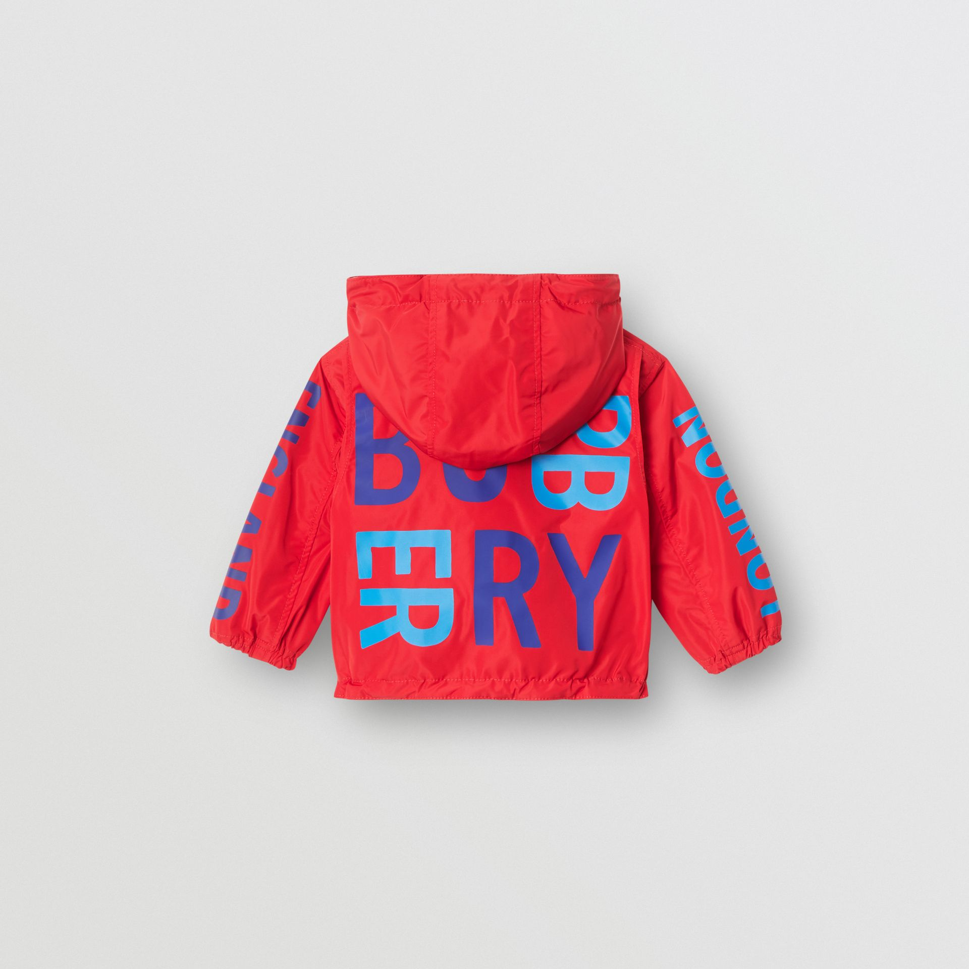 Reversible Logo Print Hooded Jacket in Bright Red - Children | Burberry Australia - gallery image 4