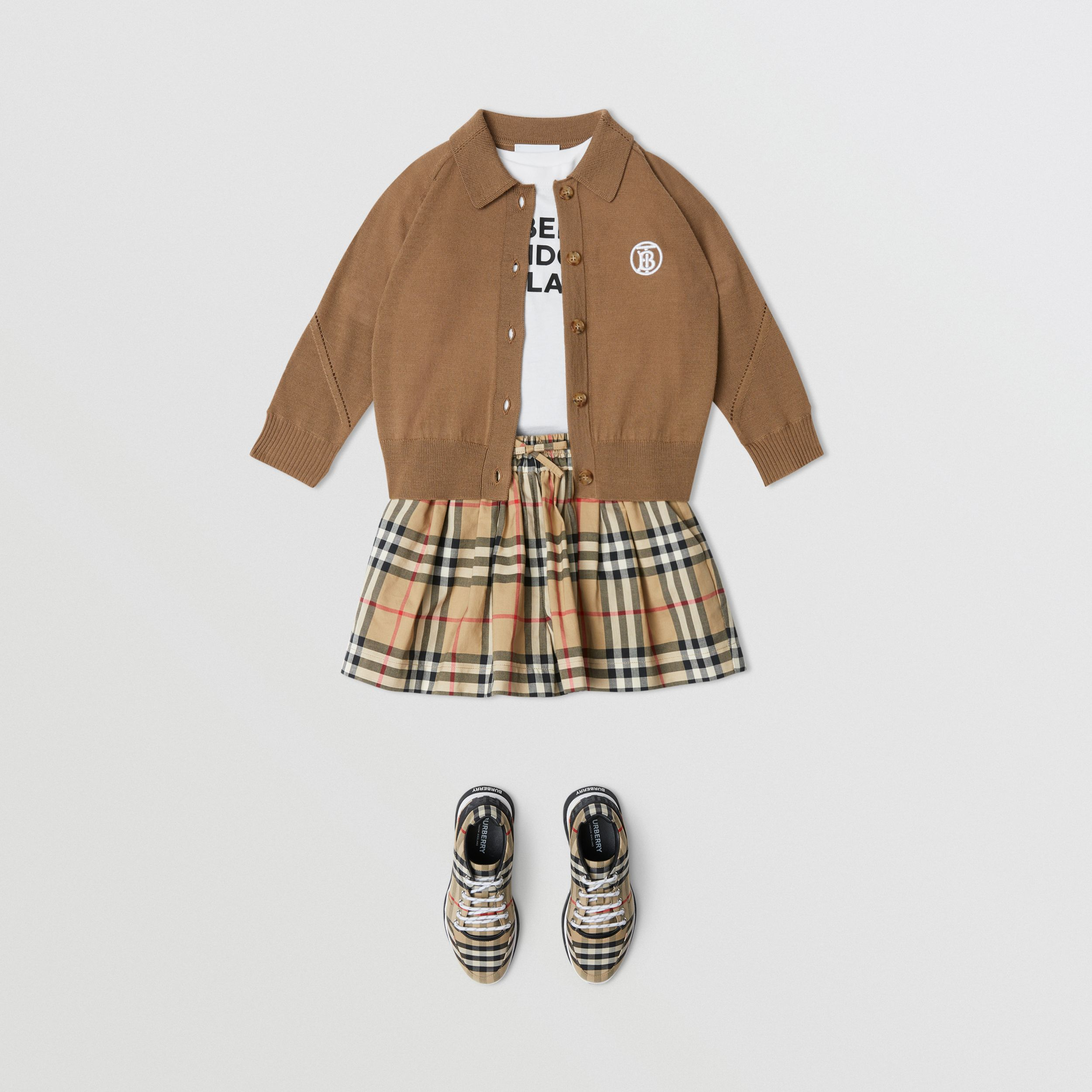Vintage Check Gathered Cotton Shorts in Archive Beige | Burberry - 3