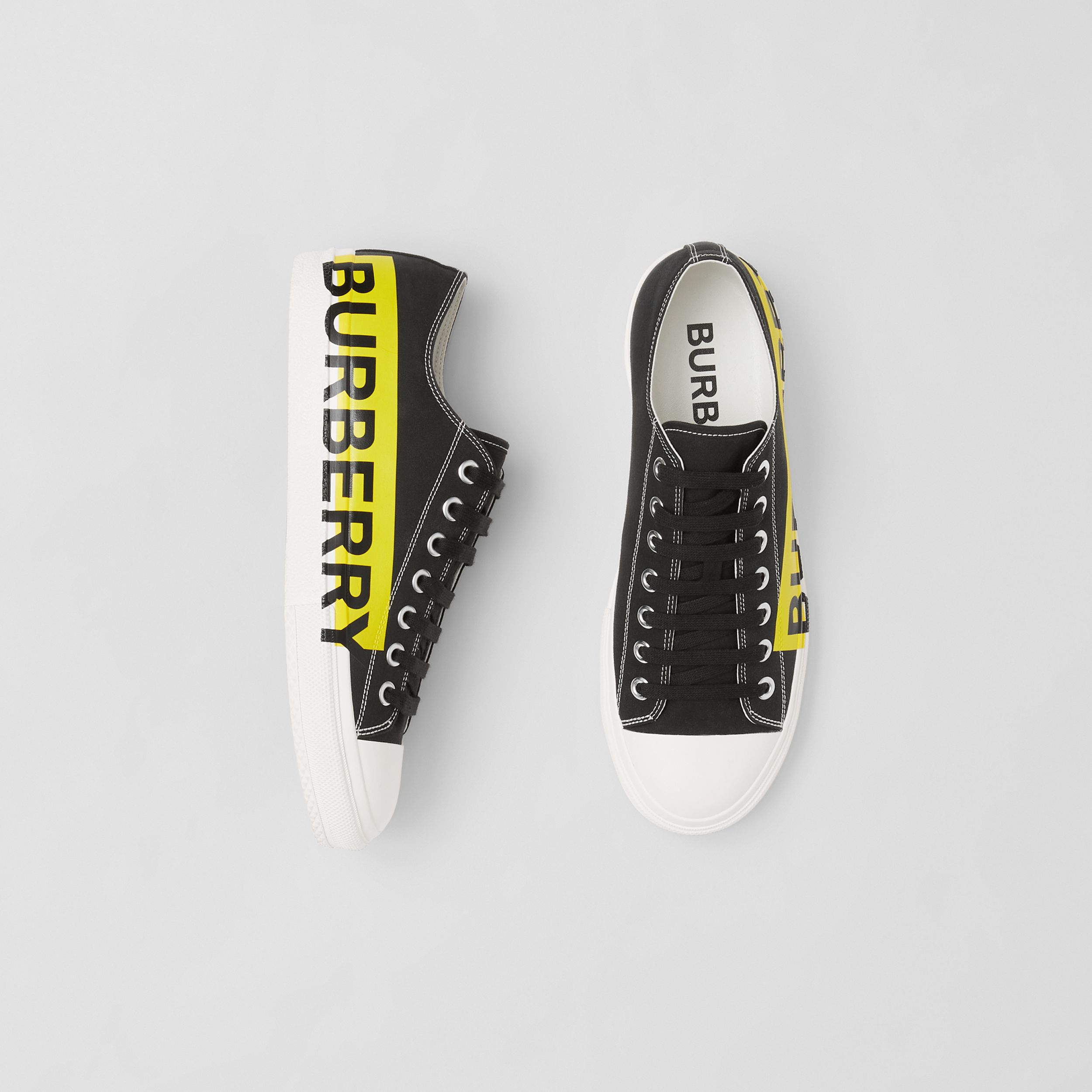 Logo Print Two-tone Cotton Gabardine Sneakers in Black - Men | Burberry Canada - 1