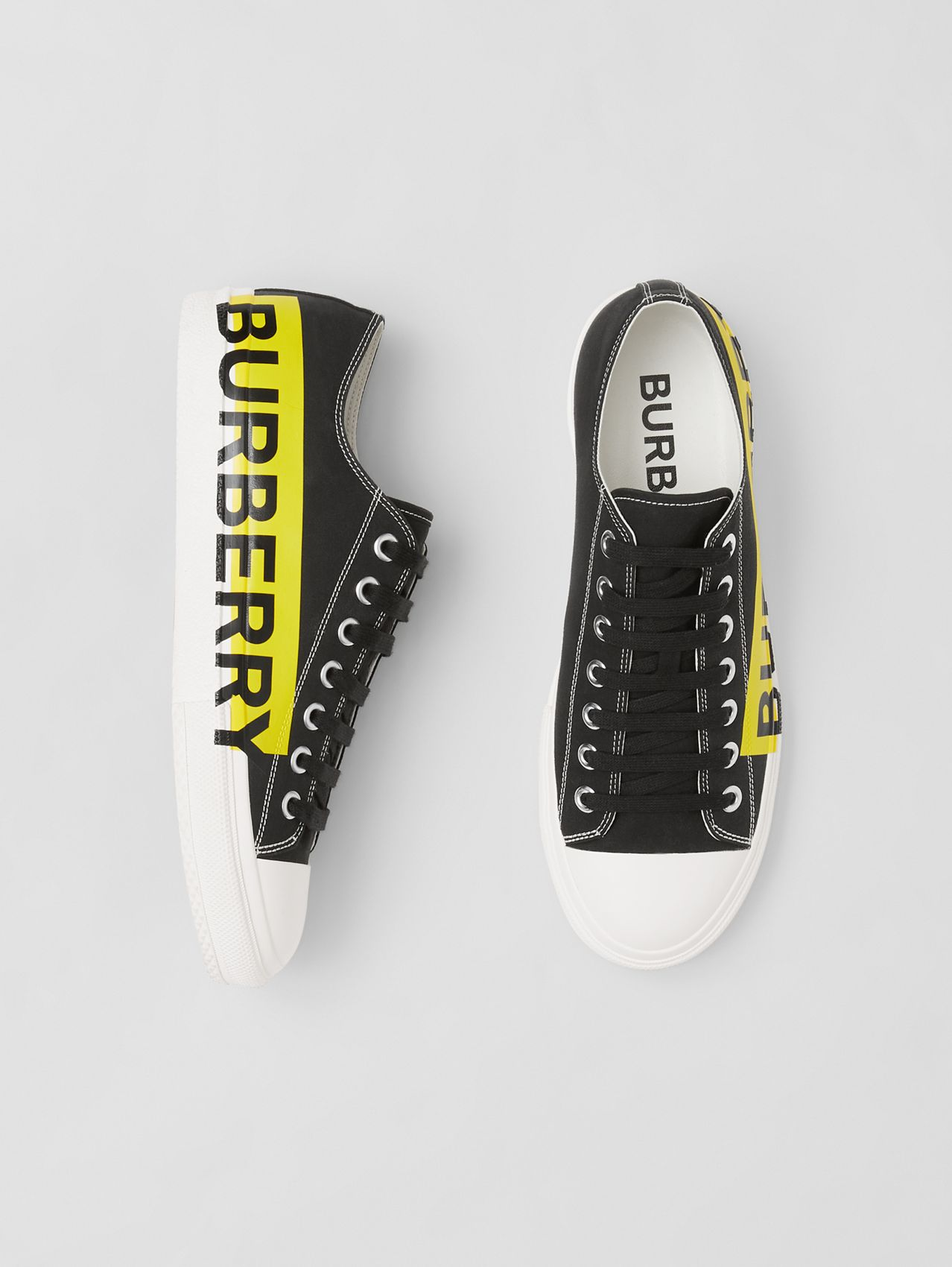 Logo Print Two-tone Cotton Gabardine Sneakers in Black