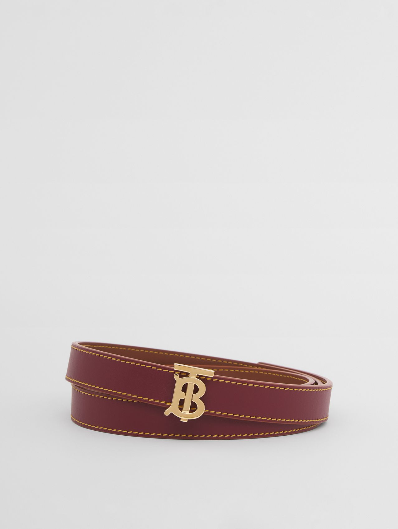Reversible Monogram Motif Leather Belt in Garnet/tan/terracotta