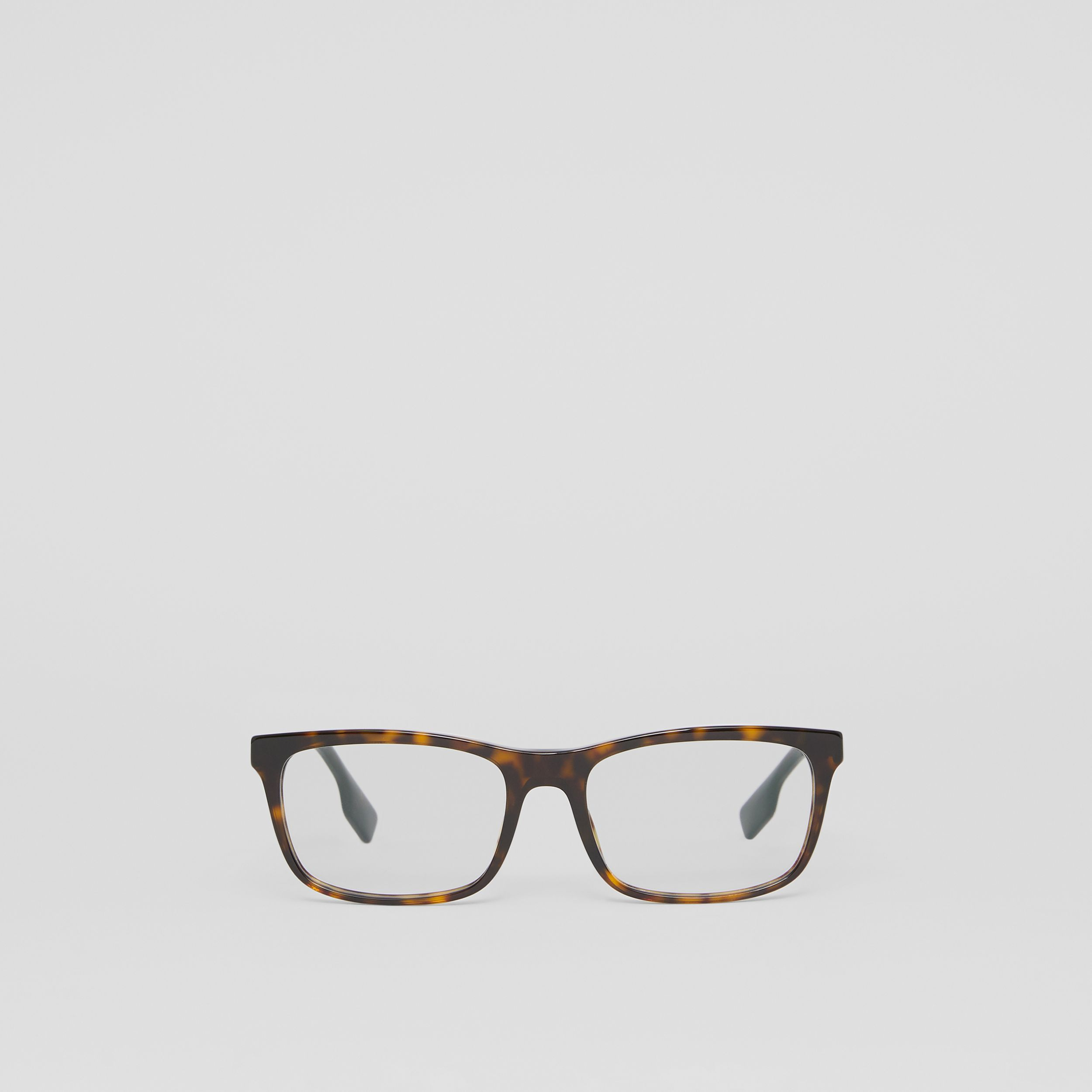 Icon Stripe Detail Rectangular Optical Frames in Tortoiseshell - Men | Burberry - 1