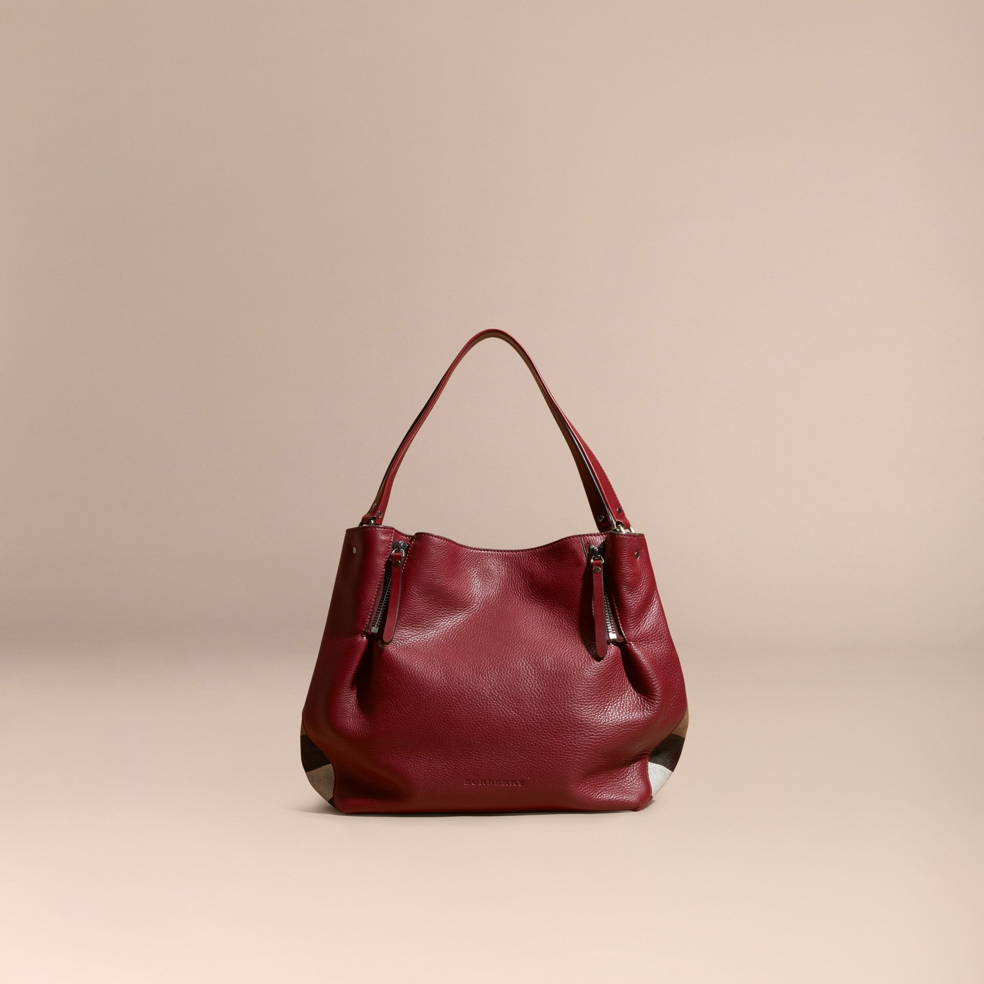 Burgundy red Medium Check Detail Leather Tote Bag - gallery image 8