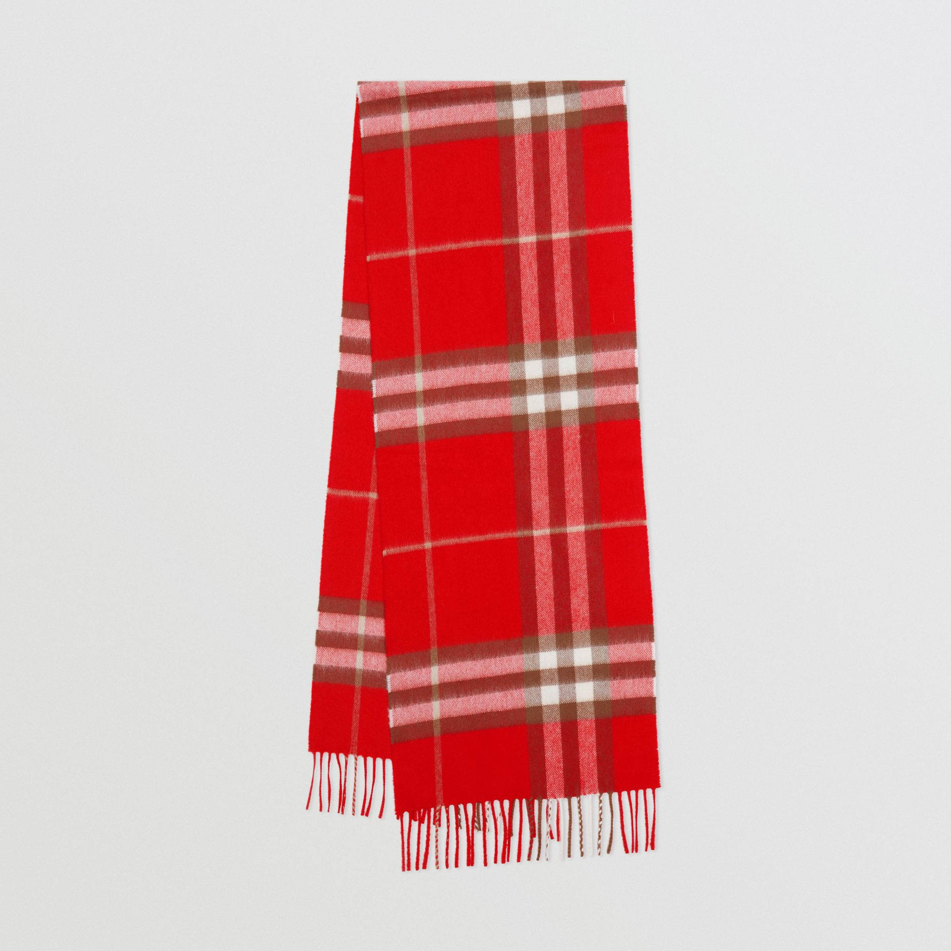 The Classic Check Cashmere Scarf in Red | Burberry - gallery image 0