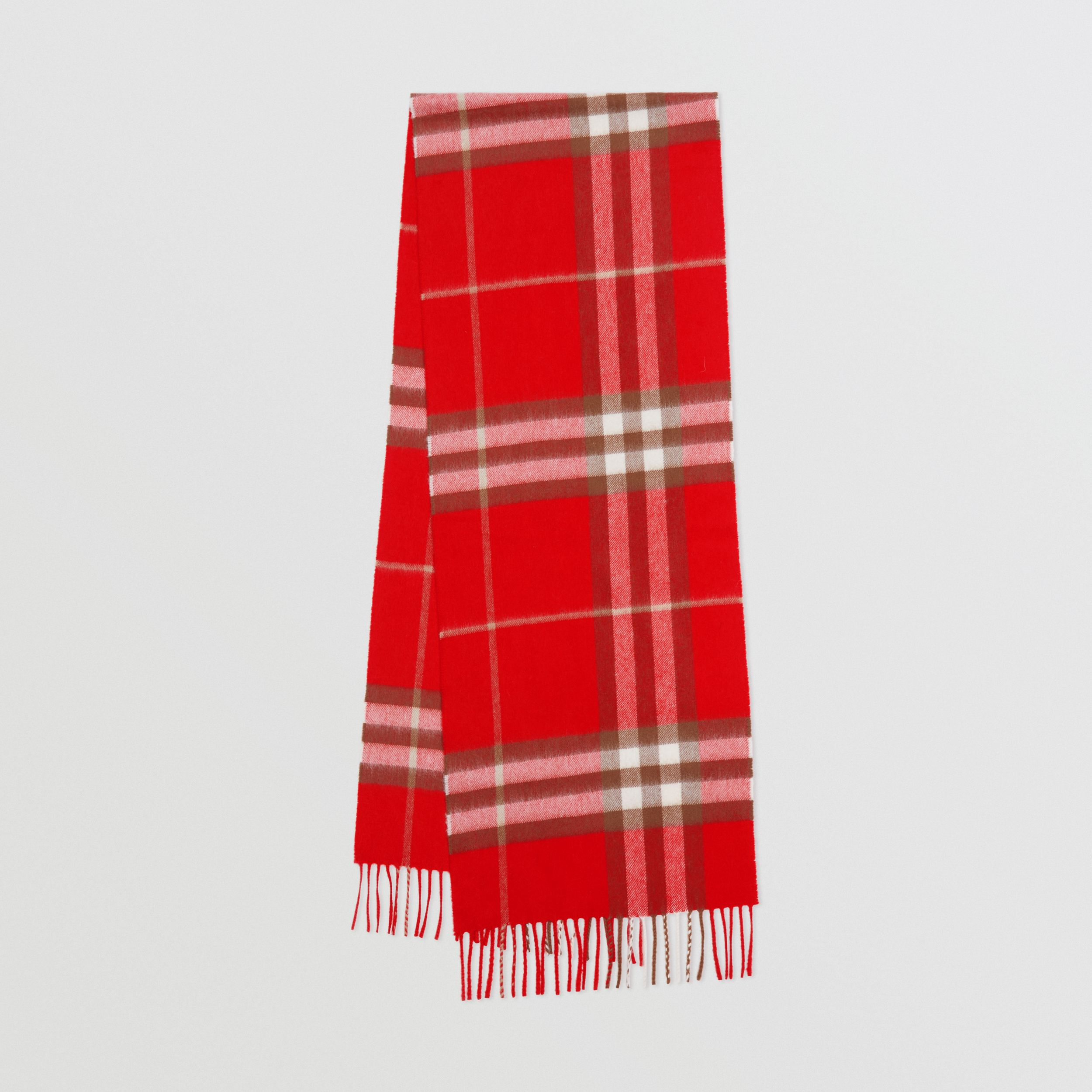 The Classic Check Cashmere Scarf in Red | Burberry - 1