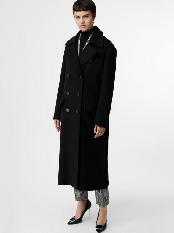 Abrigo de vestir en cachemir de doble cara (Negro)