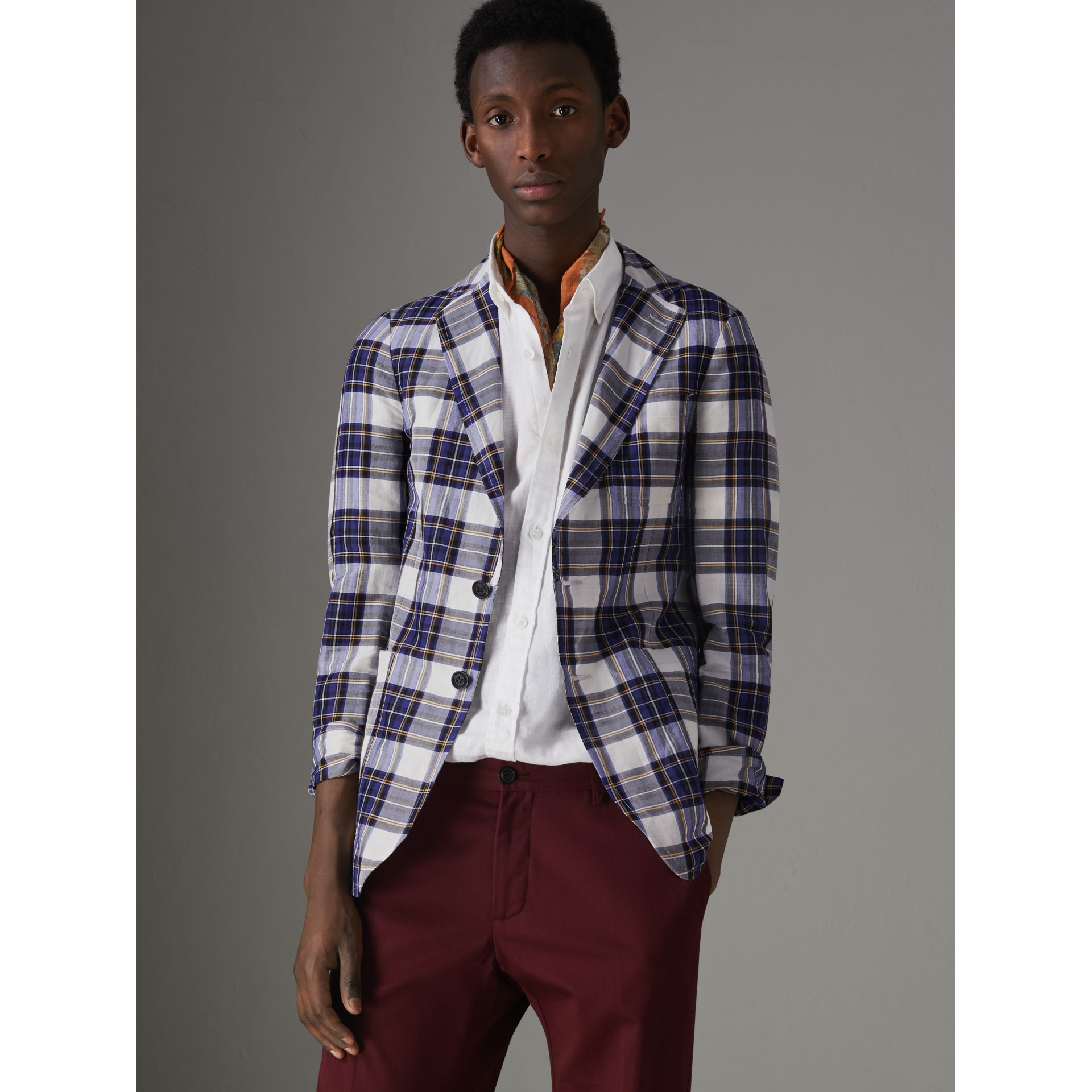 Soho Fit Check Ramie Cotton Tailored Jacket in Natural White - Men | Burberry - gallery image 5