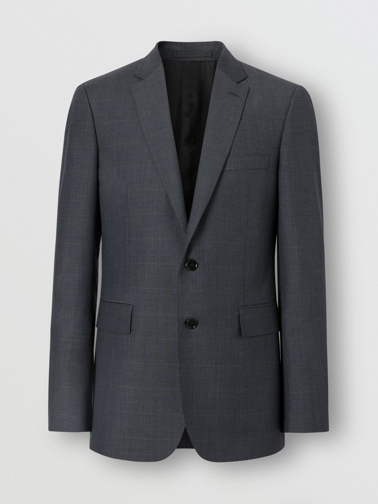 Slim Fit Prince of Wales Check Wool Suit in Carbon Blue
