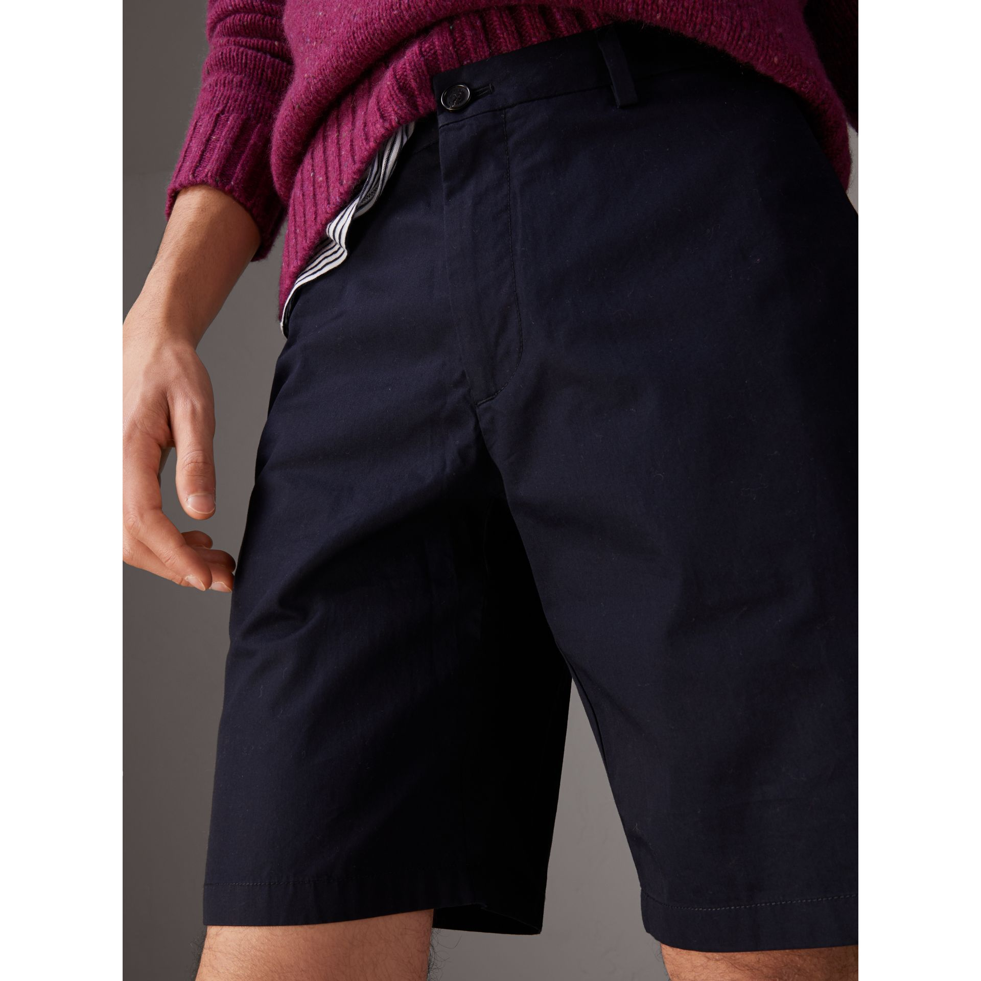 Cotton Twill Chino Shorts in Ink - Men | Burberry Australia - gallery image 1