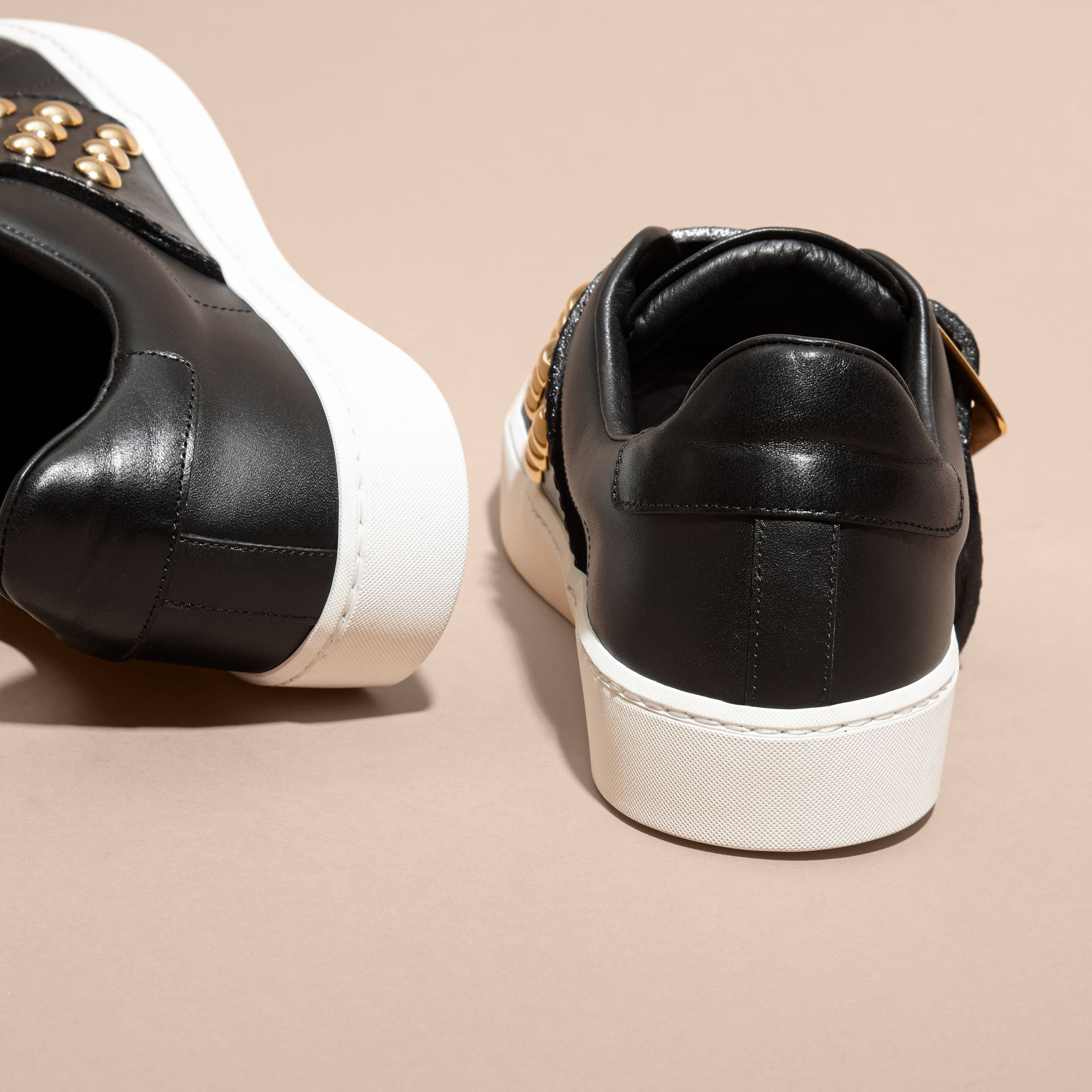 Black Oversize Buckle and Stud Detail Leather Trainers - gallery image 4