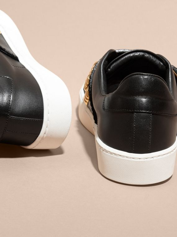 Oversize Buckle and Stud Detail Leather Trainers - cell image 3