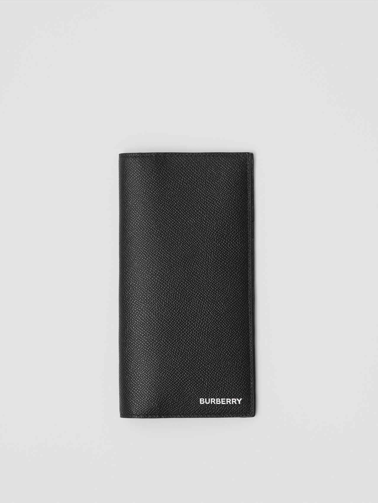 Grainy Leather Continental Wallet in Black
