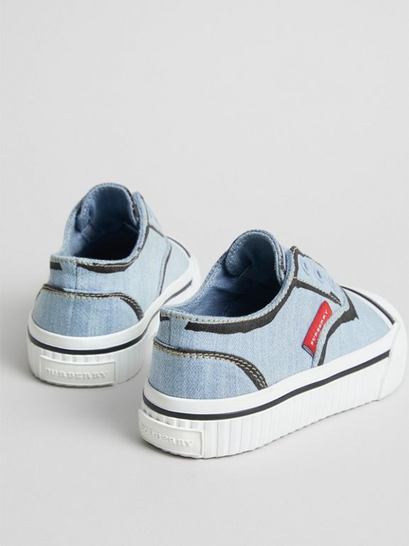 Scribble Print Slip-on Sneakers in Light Blue - Children | Burberry United Kingdom - cell image 1
