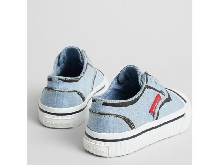 Scribble Print Slip-on Sneakers in Light Blue | Burberry Singapore - cell image 1